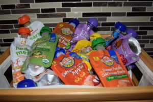 An assortment of healthy, convenient baby/toddler food packets