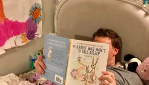 "Reading ""The Rabbit Who Wanted to Fall Asleep"" to my daughter"