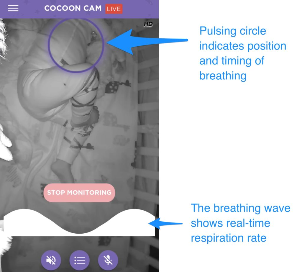 A screenshot of the Cocoon Cam app displaying breathing monitoring, with arrows pointing out the features.