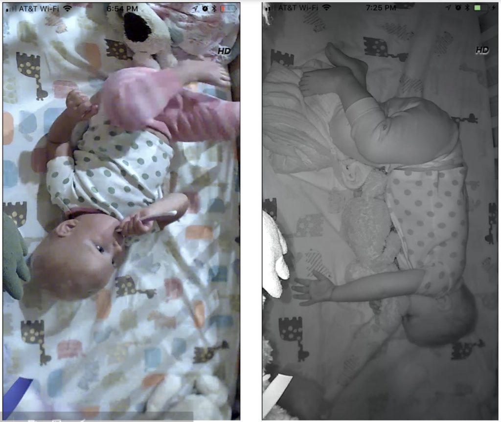Side by side screenshots from the Cocoon Cam app of a baby brushing her teeth and sleeping