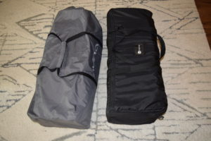 The Nuna Sena and the 4Moms Breeze Plus side by side on a carpet in their travel bags