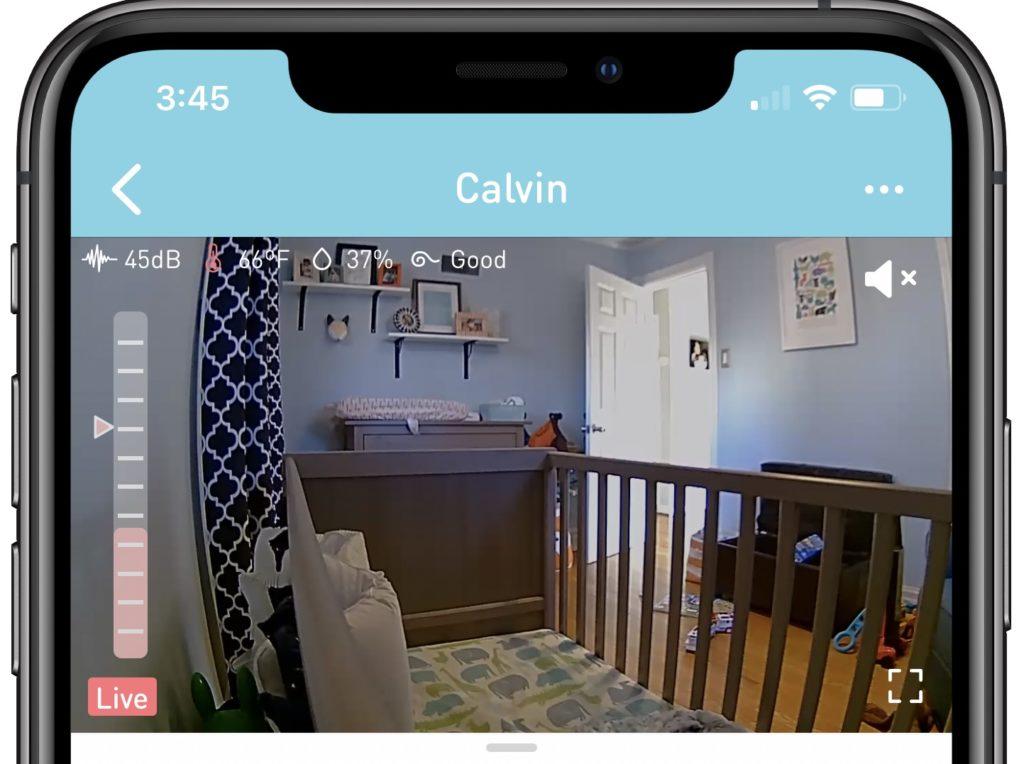 Screenshot of Lollipop Cam app showing a crib