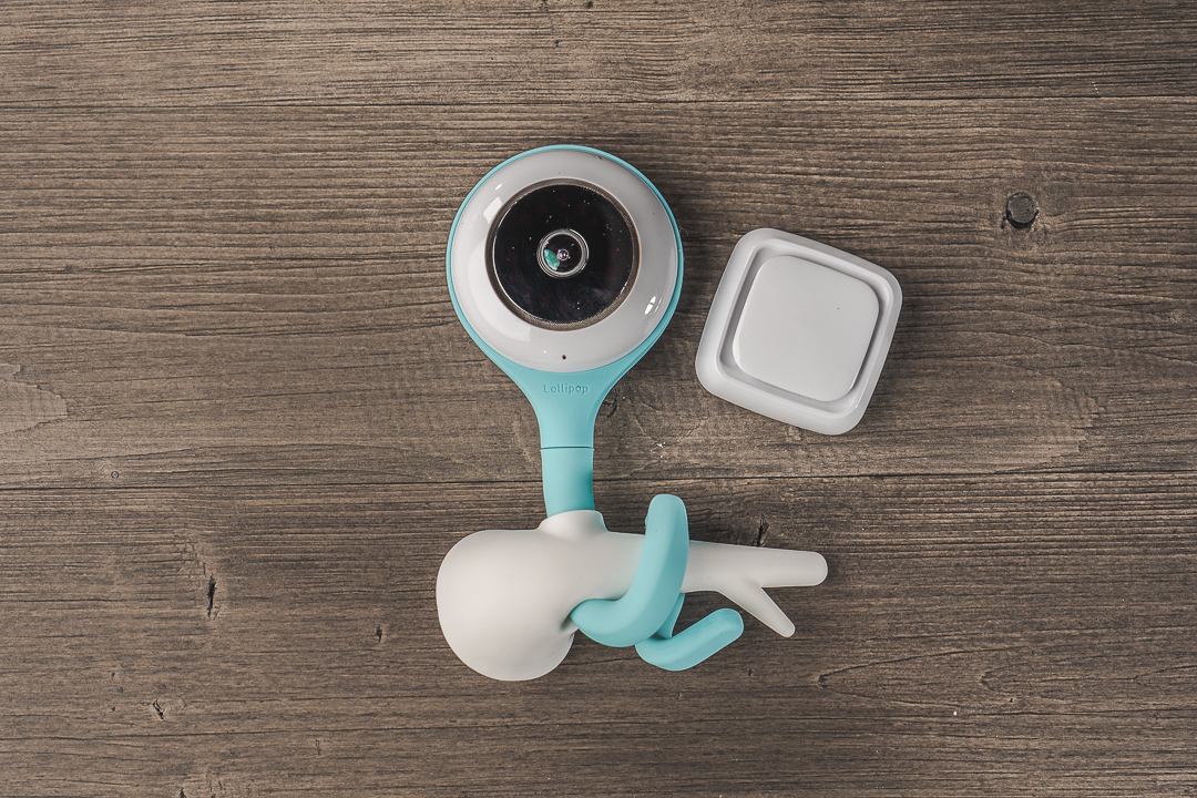 Lollipop camera, sensor, and wall mount together on a table