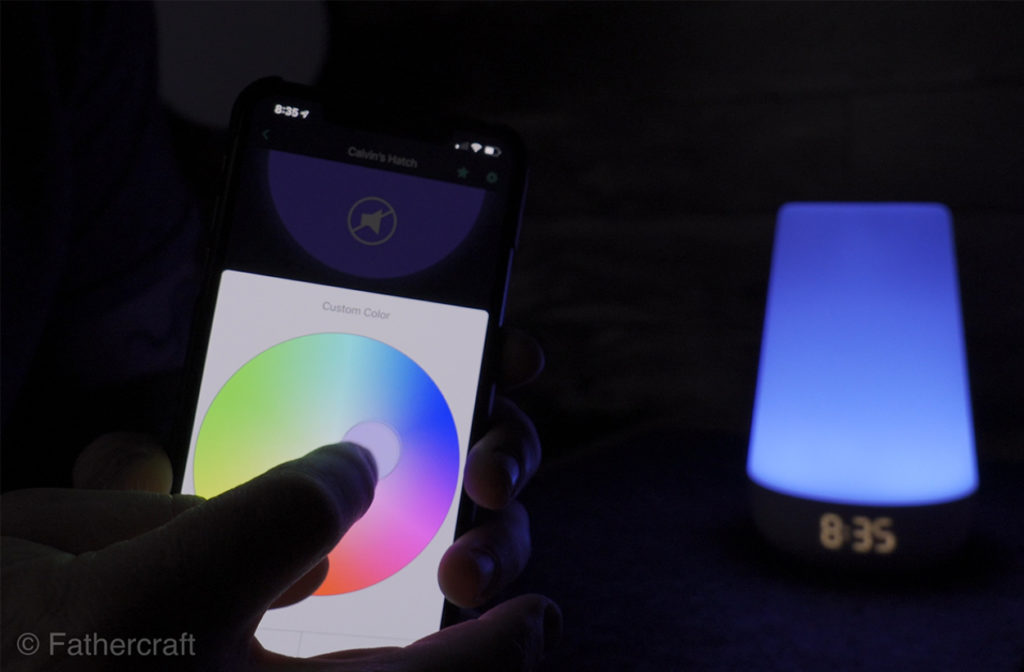 Selecting a color on the Hatch Rest+ using the app's color wheel