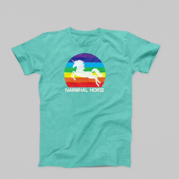 Narwhal Horse T-Shirt in Seafoam